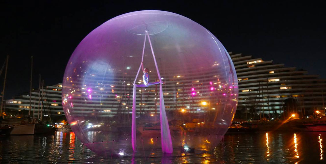 Tissu aerien bulle sur l'eau Eklabul Evénements